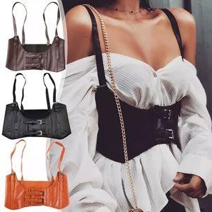 Accessories - Steampunk Black Brown Corset Belt Vest Harness New